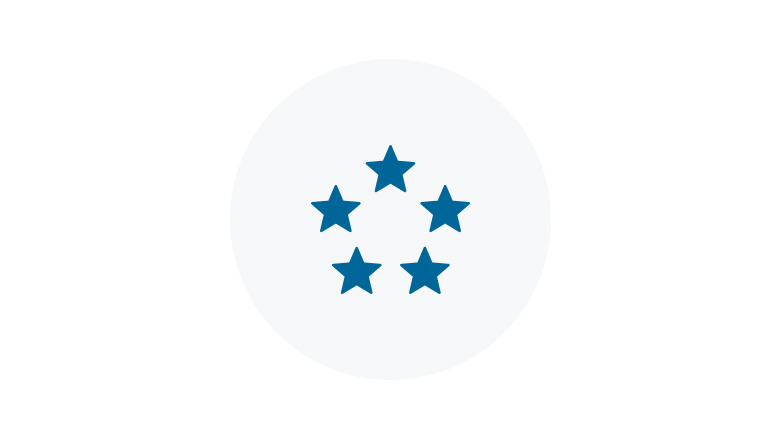 Blue Icon of 5 stars