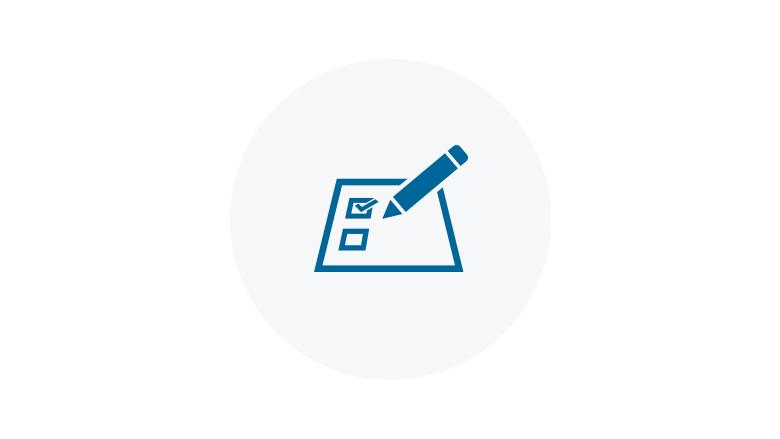 Blue Icon of a Checklist