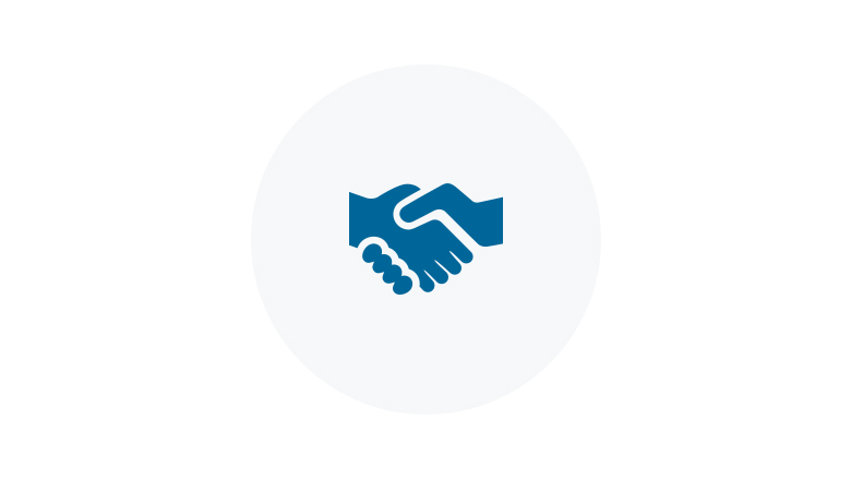 Blue Icon of a Handshake