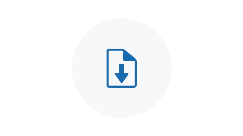 Blue Icon of a page being downloaded