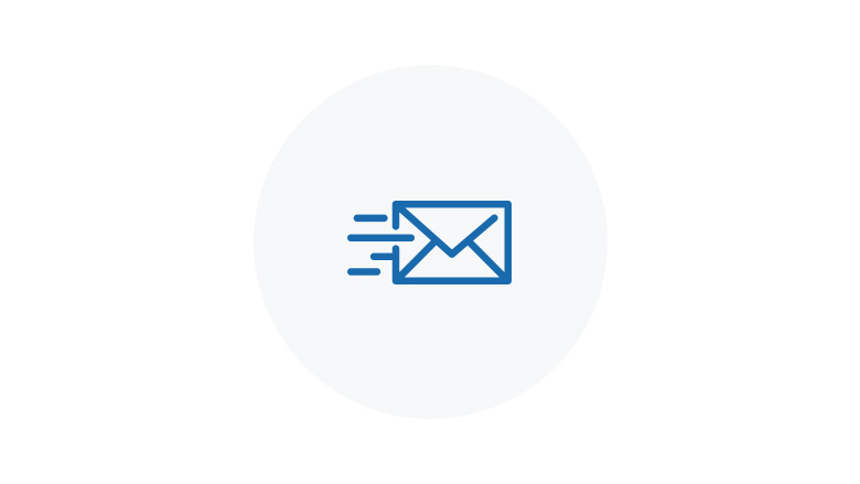 Blue Icon of flying email