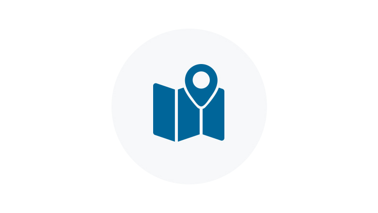 Blue Icon of a Location on a Map