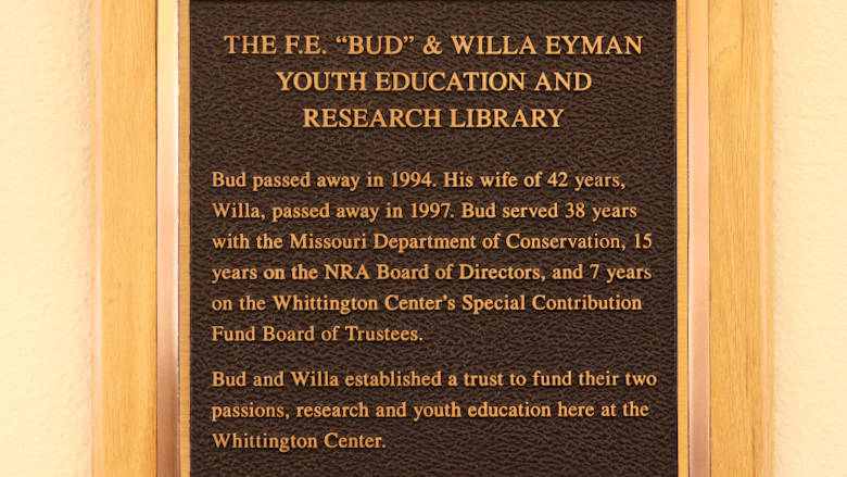 Bud and Willa Eyman Research Library Dedication Plaque